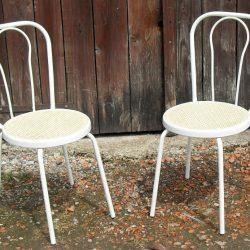 chaises bistro fer blanc biais