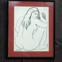 tableau femme se coiffant gibert de loin