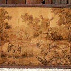 tapisserie ancienne âne à la rivière face
