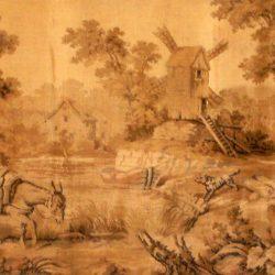tapisserie ancienne âne à la rivière de près