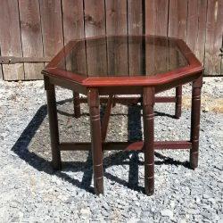 table de salon bois et verre bout