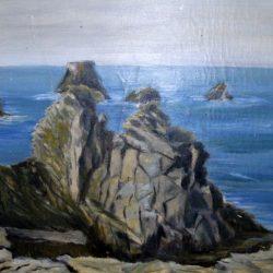 tableau mer et rochers de près